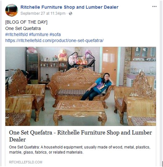 this furniture shoplumber dealer has a blog of the day which is a great way to simultaneously add content to your site and have a quick and easy daily